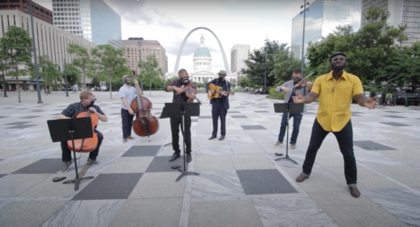 """St. Louis Symphony launched the online series """"Songs of America"""" in July. Here, Ferguson-based songwriter Brian Owens performs with orchestra musicians, billed as The 442s."""
