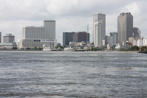 Downtown New Orleans seen from Crescent Park. March 19, 2020.