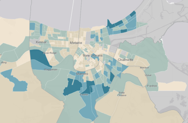 New data from the Louisiana Department of Health shows the number of COVID-19 cases in each Census tract as of April 19, 2020.