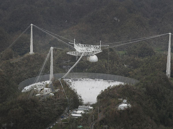 The Arecibo Observatory in Puerto Rico is seen after Hurricane Maria hit it in September 2017.