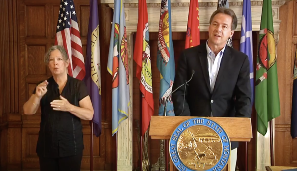 Montana Gov. Steve Bullock updates the public on coronavirus-related matters during a press conference Aug. 6, 2020.