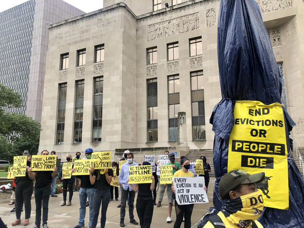 Dozens of Kansas City tenants demonstrated in front of the Jackson County Courthouse last month following the end of the federal moratorium halting evictions during the pandemic.
