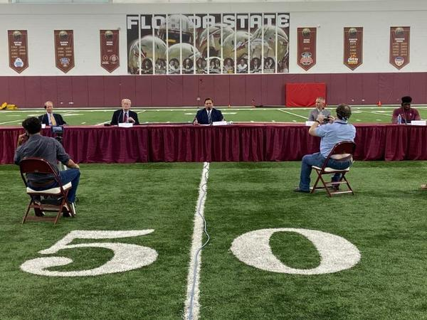 During an appearance at Florida State University with football players and President John Thrasher, Gov. Ron DeSantis also said the state would welcome athletes from schools in other states and conferences not planning to play this fall.