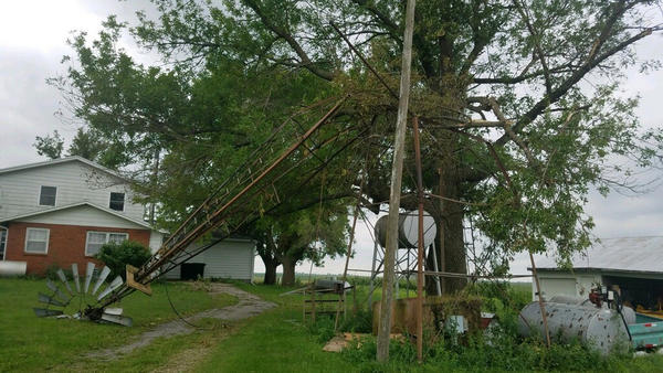 Aaron Lehman's entire farm in Polk County, Iowa, sustained damage in Monday's storm.