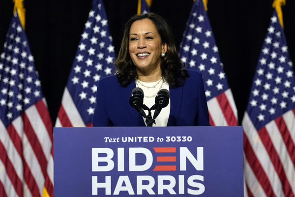 Sen. Kamala Harris  speaks after Democratic presidential candidate former Vice President Joe Biden introduced her as his running mate during a campaign event in Wilmington, Del., Wednesday, Aug. 12, 2020. (Carolyn Kaster/AP)