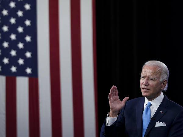 Joe Biden addresses donors during a virtual fundraising event at the Hotel DuPont in Wilmington, Del., on Aug. 12. Biden will accept his party's nomination at this week's Democratic National Convention.