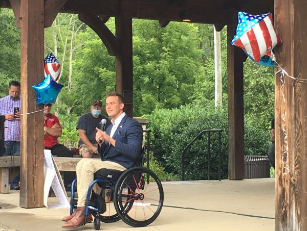 Madison Cawthorne, 11th Congressional District Republican nominee candidate, spoke at the 'Back the Blue' rally in Jackson County on Saturday.