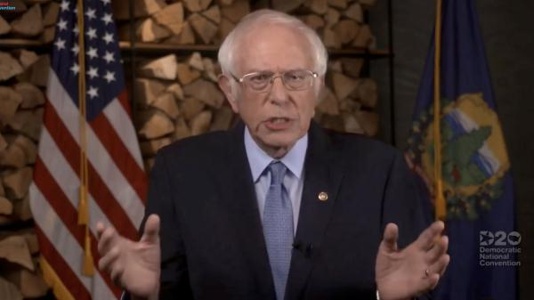 Sen. Bernie Sanders, I-Vt., addresses the virtual Democratic National Convention on Monday evening.