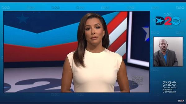Actress Eva Longoria hosted Monday's opening night of the Democratic National Convention not in front of a live audience, but on streaming video.