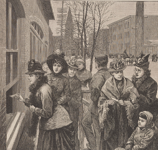 An illustration of women standing at the polls in 1888 in Cheyenne, Wyoming.