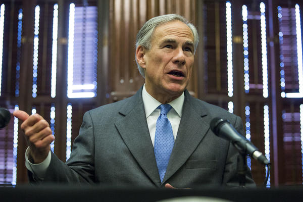Texas Gov. Greg Abbott, seen during a news conference last year, said he wants to prevent a property tax revenue increase for cities that cut funding for police.