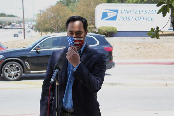 Congressman Joaquin Castro spoke about local concerns at the post office and postal processing center on Perrin Beitel Road Wednesday afternoon.