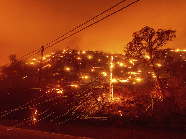 Embers burn along a hillside as the LNU Lightning Complex fires tear through unincorporated Napa County, Calif., on Tuesday. Fire crews across the region scrambled to contain dozens of wildfires sparked by lightning strikes as a statewide heat wave continues.