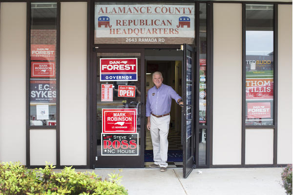 Incumbent Republican State Rep. Stephen M. Ross stands outside the Alamance County Republican Headquarters in Burlington on Monday, Aug. 17, 2020. Ross is up for reelection for North Carolina's House District 63.