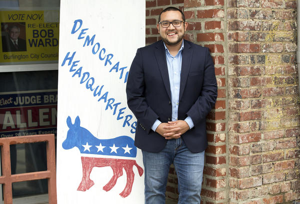 Political newcomer Ricky Hurtado is running in the general election for North Carolina House of Representatives District 63. He stands outside the county Democratic Headquarters on Monday, Aug. 17, 2020.
