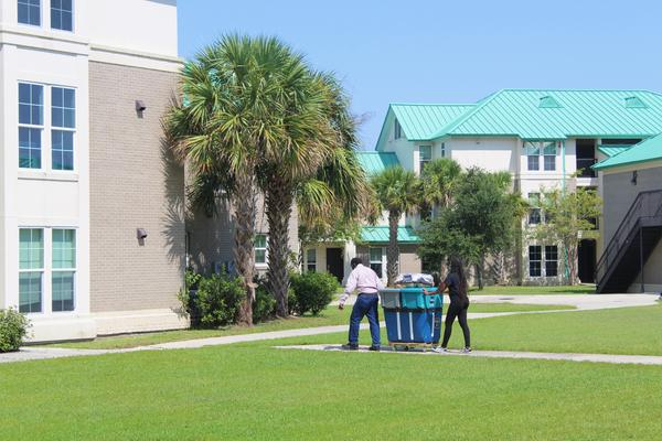 Dillard University upperclassman move into overflow housing at the Southern University of New Orleans on Aug. 14, 2020.