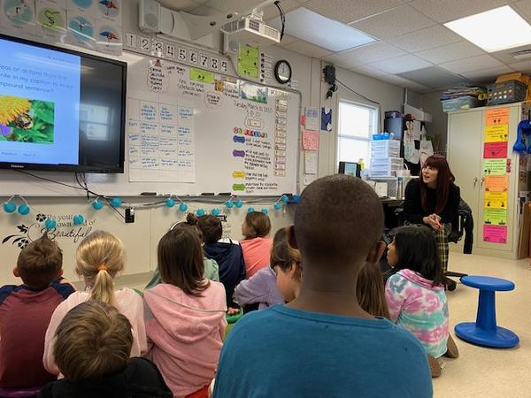 Second-graders at Huntersville Elementary  doing an EL literacy lesson in March, before schools closed.