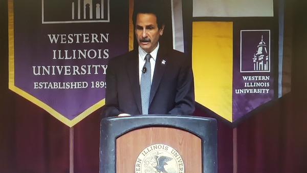 """WIU Interim President Martin Abraham during Thursday's speech. """"We have some wonderful news to share from an enrollment and retention standpoint."""""""