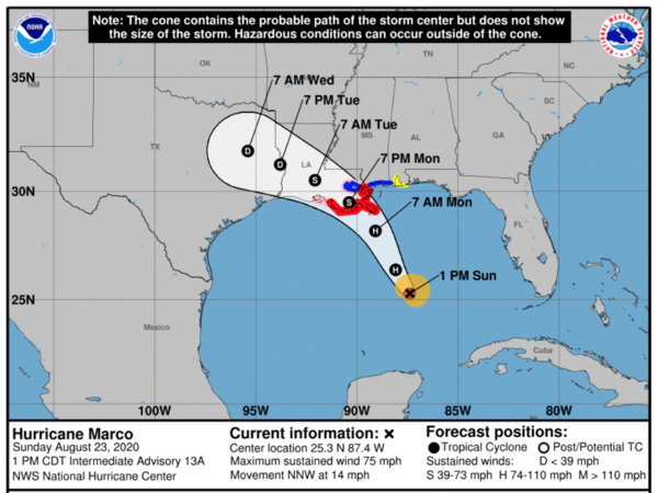 The probable track of Tropical Storm Marco, according to the National Hurricane Center.