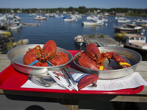 Cooked lobsters are seen in Bernard, Maine. The U.S. lobster industry has been at a competitive disadvantage in Europe ever since Canada struck its own trade deal with the European Union three years ago.