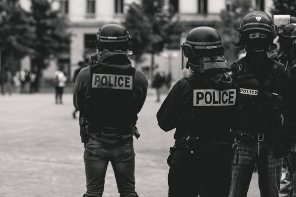 Police officers in Lyon, France
