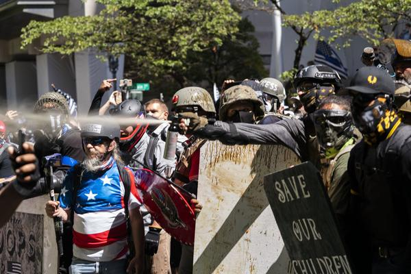 Pro- Trump and pro-police demonstrators clashed with anti-fascist counterprotesters on the 87th day of protests against police violence and systemic racism. Despite violence in the streets, police were notably absent and never declared an unlawful assembly.