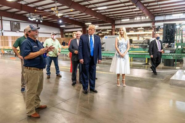 President Donald J Trump, and Ivanka Trump tour facility participating in Famers to Families Food Box Program Monday