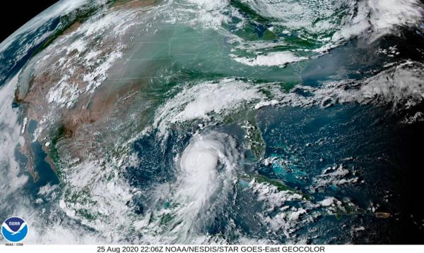 A satelite image of Hurricane Laura, Aug. 25, 2020.