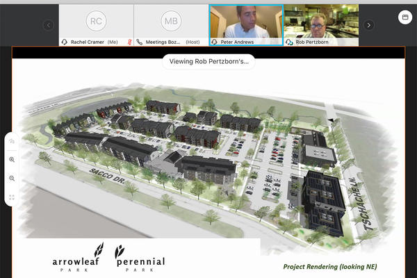 Peter Andrews and Rob Pertzborn with Intrinsik Architecture discuss the Arrowleaf Park and Perennial Park development plan in Bozeman at a virtual city commissioner meeting August 25, 2020.