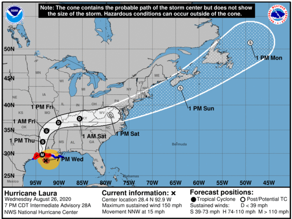 """The National Hurricane Center is warning of extreme winds and """"catastrophic"""" storm surges from Hurricane Laura, which is expected to make landfall along the Texas-Louisiana border on Wednesday night."""