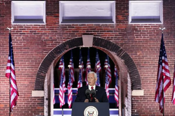 Vice President Pence speaks on the third day of the Republican National Convention at Fort McHenry in Baltimore. He stressed a law and order message as protests over racism and policing continue.