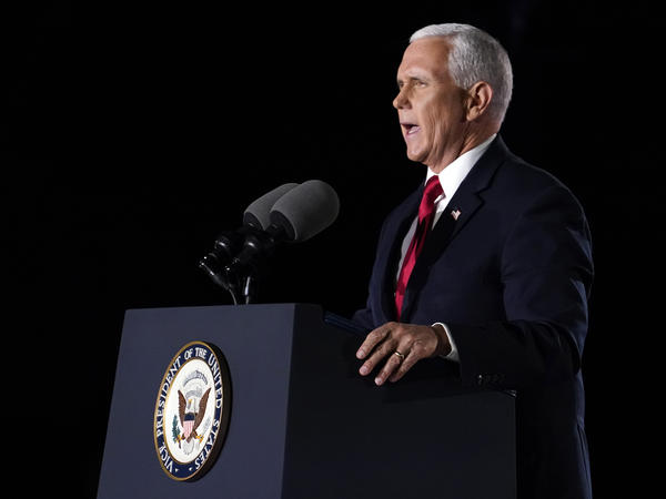 Vice President Pence speaks on the third day of the Republican National Convention at Fort McHenry National Monument and Historic Shrine in Baltimore.