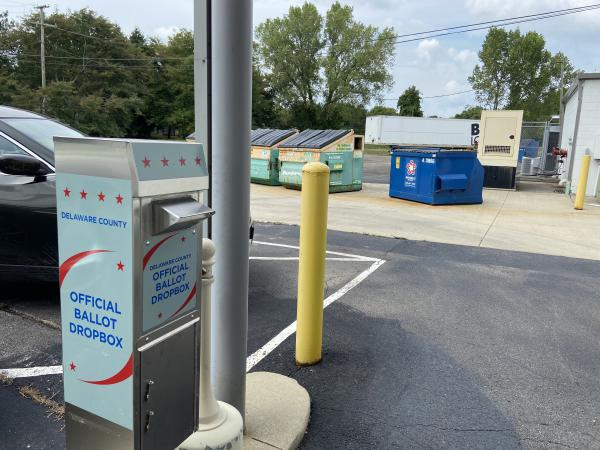 The ballot drop box at the Delaware County Board of Elections has a drive thru. But it's behind the building near the dumpsters.