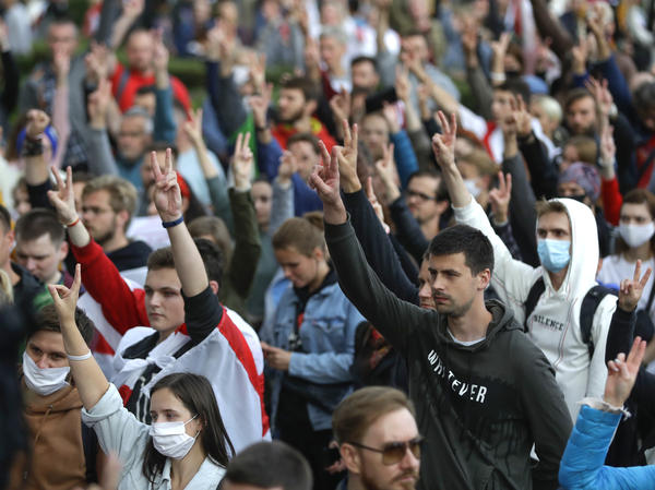 People protest at the Independence Square in Minsk on Thursday.