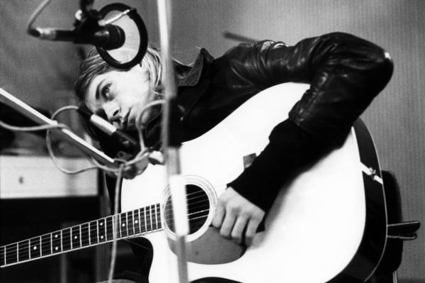 Kurt Cobain in the studio with Nirvana in late 1991.