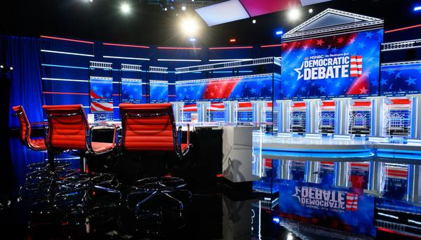 The debate stage is prepared for Wednesday's Democratic presidential primary debate, hosted by MSNBC and <em>The Washington Post,</em> at Tyler Perry Studios in Atlanta.