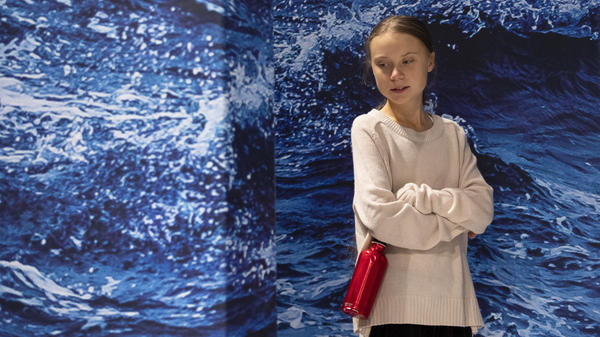 """Swedish climate activist Greta Thunberg was named <em>Time</em> magazine's person of the year for showing """"what it might look like when a new generation leads."""" She's seen here at the COP25 Climate Conference in Madrid on Wednesday."""