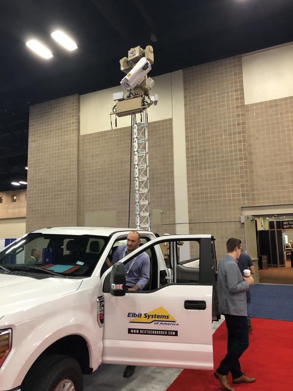 U.S. Customs and Border Protection is testing mobile surveillance towers like this one, parked at the Border Security Expo in San Antonio, to improve the tracking of illegal crossers. Critics of the border wall say the government should favor virtual technology over steel and concrete.