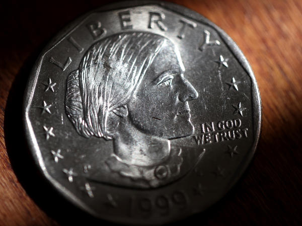 In this photo illustration, a Susan B. Anthony one dollar coin is displayed on August 18, 2020 in San Anselmo, California.