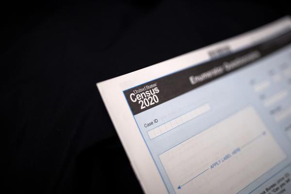 A Census 2020 form is seen Tuesday, Jan. 21, 2020, in Toksook Bay, Alaska.