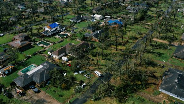 An aerial view of Lake Charles, La., shows damage to houses last week after Hurricane Laura, one of the most powerful storms ever to hit Louisiana, tore through the area.