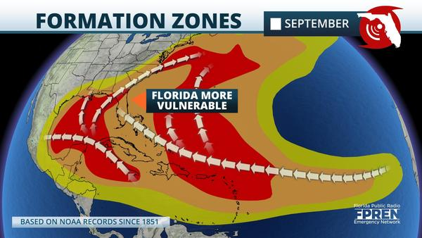 General Tropical Cyclone Formation Zones in the Month of September