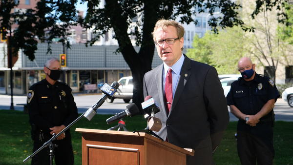 U.S. Attorney Kurt Alme with Yellowstone County Sheriff Mike Linder (left) and Billings Police Chief Rich St. John (right) address the increase in violent crime in the county on the Yellowstone County Courthouse lawn on Tuesday, September 1st.