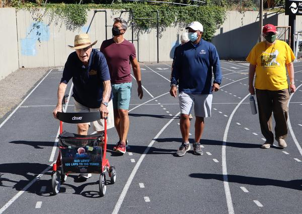 World War II veteran Bud Lewis logged some more laps of the Duniway Park track with supporters on Aug. 27, 2020.