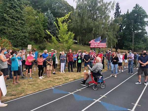 A crowd saluted Bud Lewis of Portland at the track on his 100th birthday on Aug. 8, 2020.