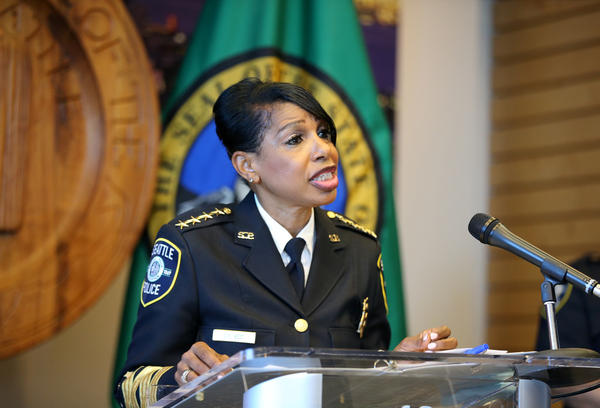 Seattle Police Chief Carmen Best announces her resignation at a press conference at Seattle City Hall on Aug. 11. Her departure comes after months of protests against police brutality and votes by the city council to defund her department.