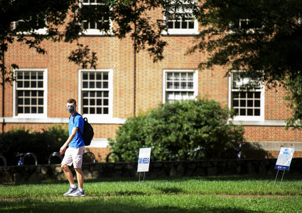 A student walks through the campus of the University of North Carolina at Chapel Hill on August 18, 2020 in Chapel Hill, North Carolina. (Melissa Sue Gerrits/Getty Images)