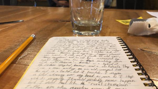 At the end of the first day, Nate journaled with a night cap at Bitterroot Brewery in Hamilton, Montana.