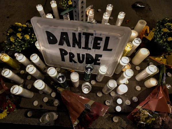 A memorial in Rochester, N.Y., where Daniel Prude, a 41-year-old Black man, died while in police custody this past March. In New York City, hundreds of Black Lives Matter demonstrators took to the city's streets in protest.