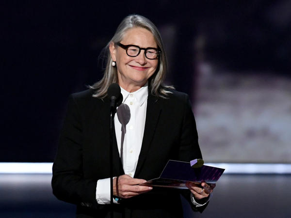 Cherry Jones speaks onstage during the 2019 Emmy Awards. She is nominated for an Emmy for her role in <em>Succession</em>.